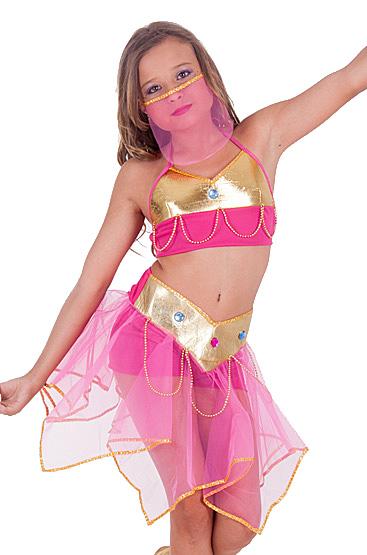 Fantasia odalisca infantil rosa e dourada