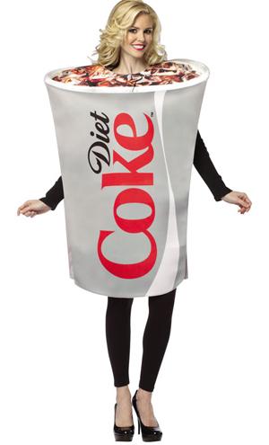 Fantasias engraçadas feminina lata de refrigerante