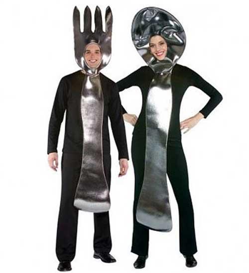 Fantasias engraçadas para casal colher e garfo