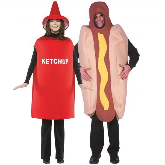Fantasias engraçadas para casal hot dog e catchup