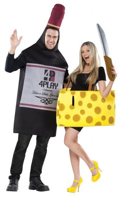 Fantasias engraçadas para casal queijo e vinho