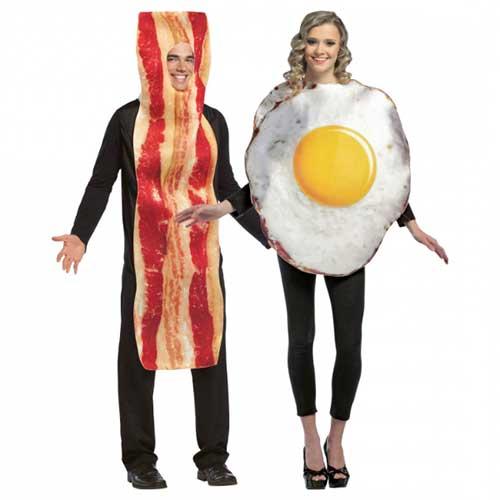 Fantasias engraçadas para casal bacon e ovo