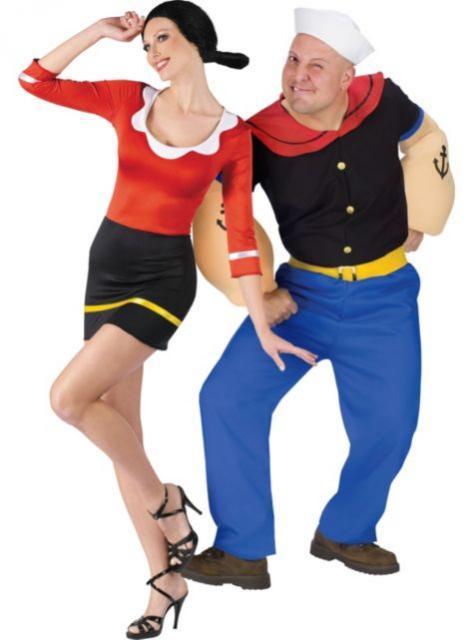 Fantasias engraçadas para casal Olivia e Popeye