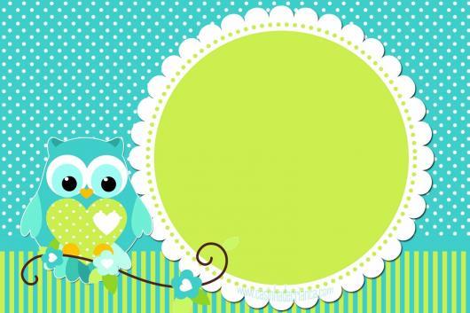festa da corujinha convite verde