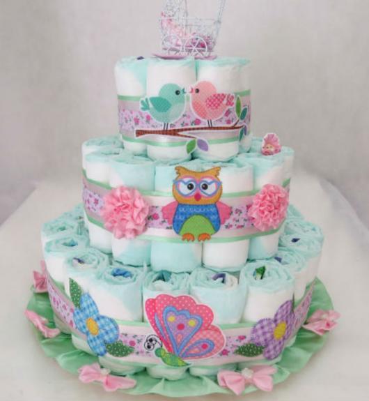 bolo de fralda da festa da corujinha