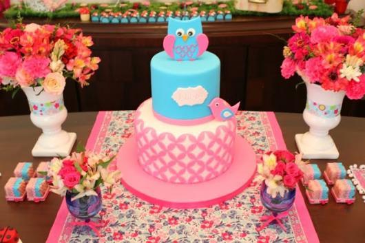 bolo festa da corujinha azul e rosa pink