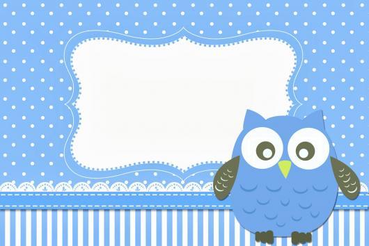 festa da corujinha convite azul