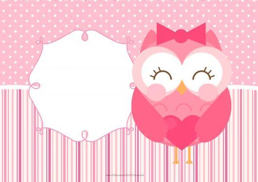 festa da corujinha convite rosa