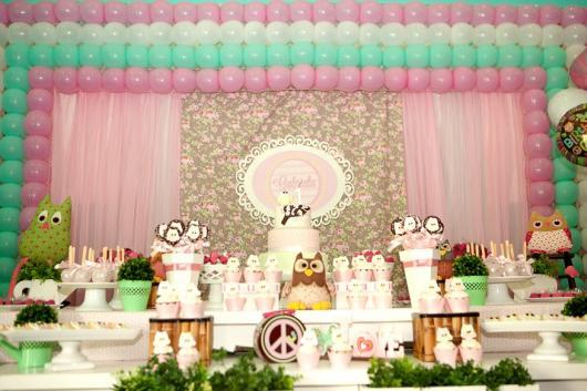 decoração de festa da corujinha