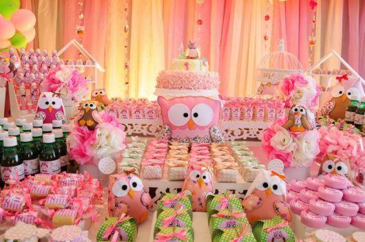 festa da corujinha provençal rosa bebê