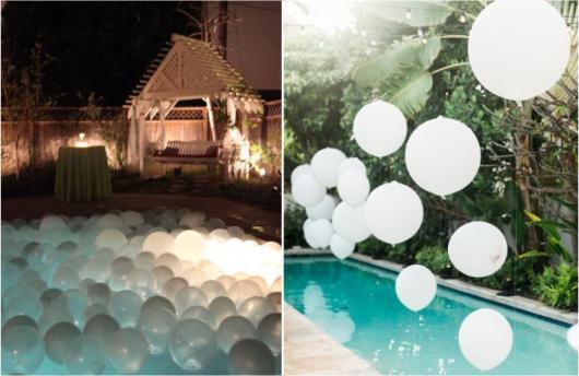 Festa de formatura na piscina com balões brancos