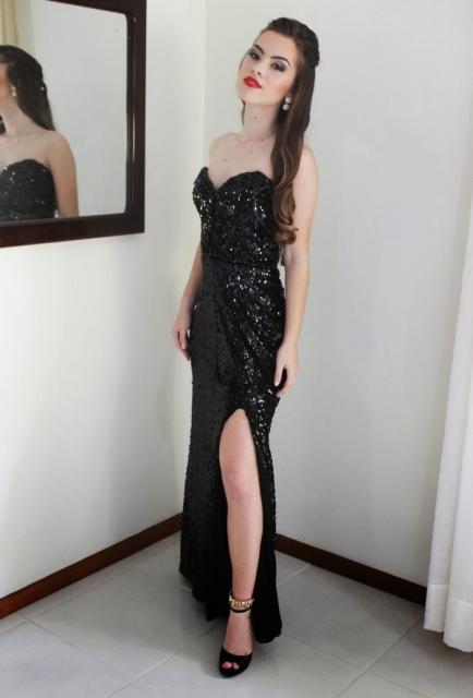 Festa de formatura look vestido longo preto