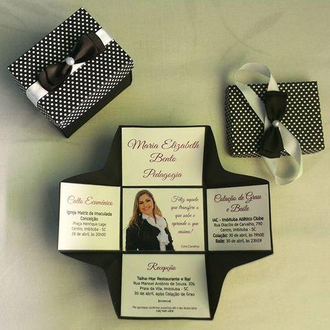 Festa de formatura convite com formato de caixa