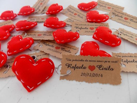 Lembrancinha de Chá de Panela de feltro: coração