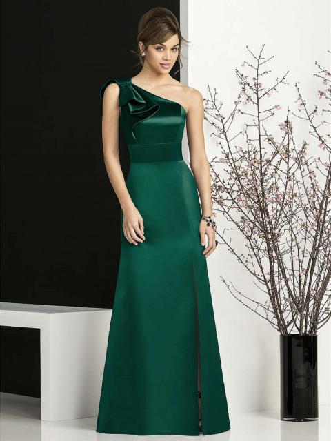Vestido de Formatura Verde longo corte reto