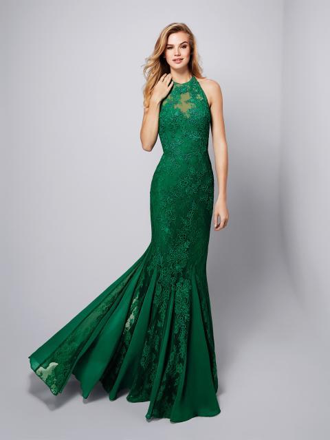 vestido de formatura verde esmeralda com renda