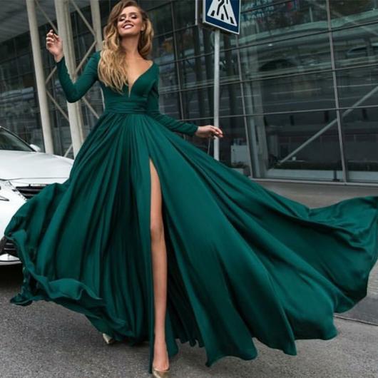 vestido de formatura verde longo manga longa