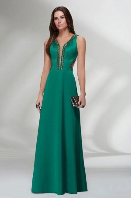 vestido de formatura verde saia longa