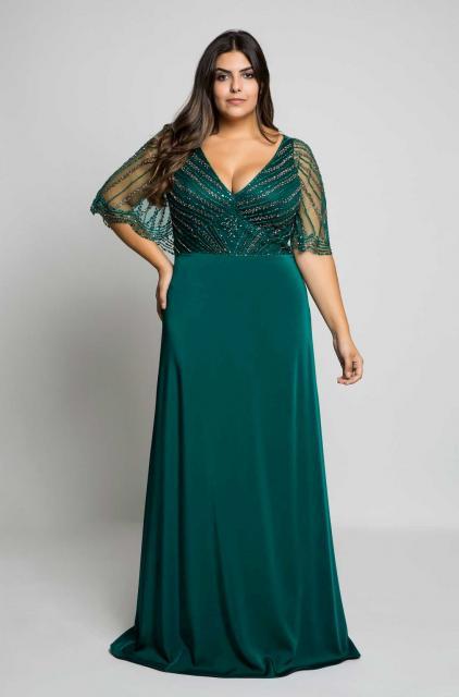 vestido de formatura verde moda para gordinhas