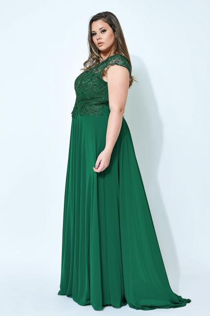 vestido de formatura verde moda plus size