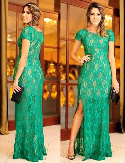 vestido de formatura verde longo com renda