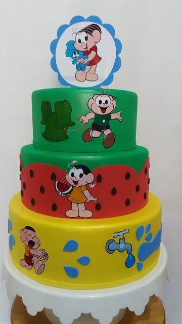 Inspiração para você criar seu próprio bolo fake Turma da Mônica