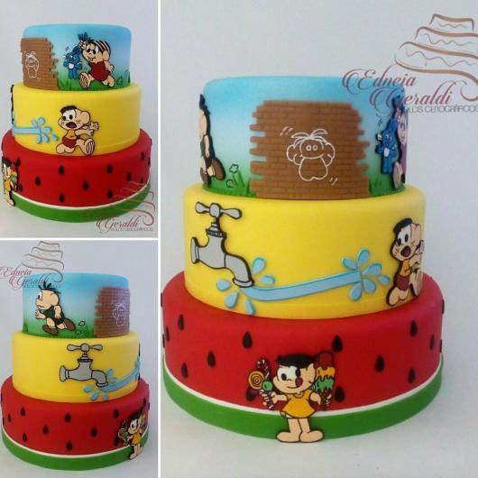 Dica de bolo lindo cenográfico feito de biscuit da Turma da Mônica