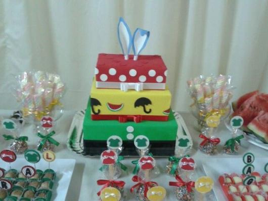 Ideia de bolo quadrado fake da Turma da Mônica