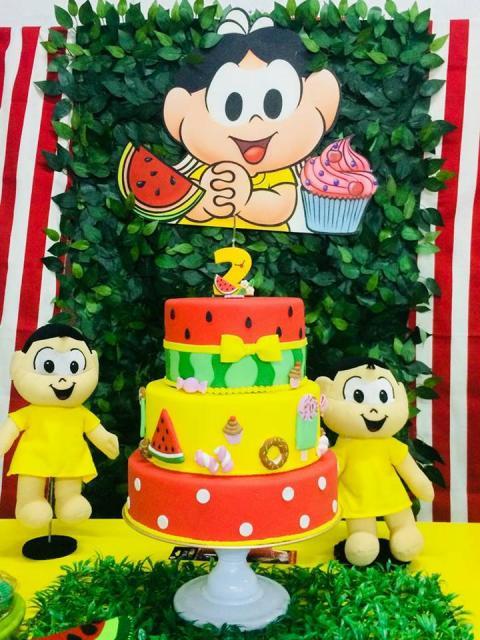 Festa da Turma da Mônica com bolo fake