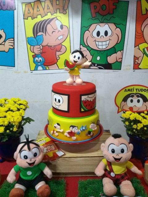Sugestão para usar o bolo fake na festa da Turma da Mônica