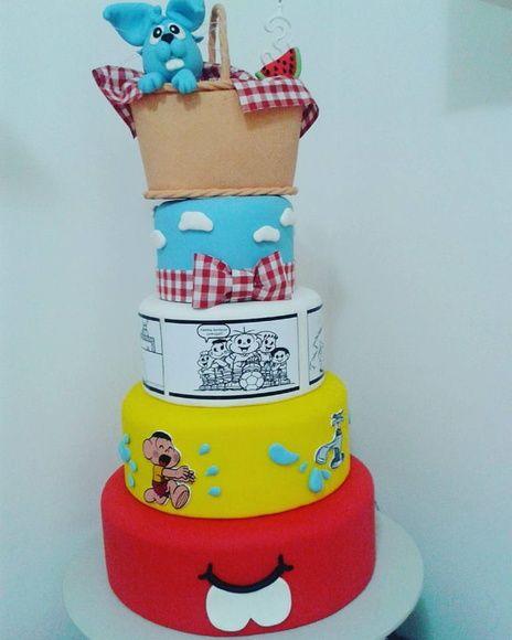 Uau! Que tal então esse bolo enorme para sua festa da Turma da Mônica?