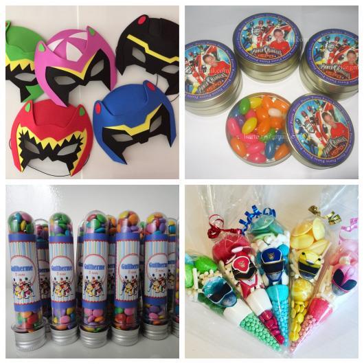 Máscaras dos Rangers (fácil de fazer em casa), pote com balinhas, tubetes coloridos e cones com guloseimas que toda criança ama!