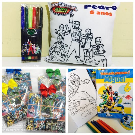 Almofada + canetinhas para colorir, kit com giz de cera e um jogo da velha divertido com o tema Power Rangers