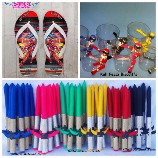 Chinelo customizado, copinhos com os Rangers em biscuit, espadas feitas de pano e coloridas com a cor de cada guerreiro