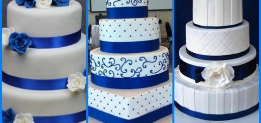 Bolo azul e branco inspirações