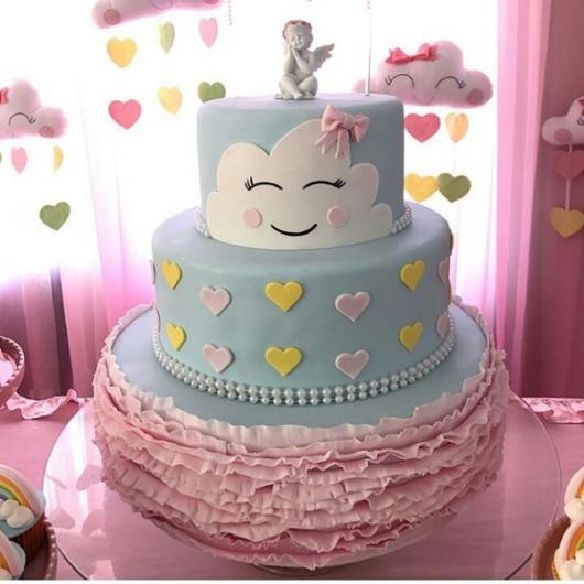 bolo fake chuva de amor com papel crepom