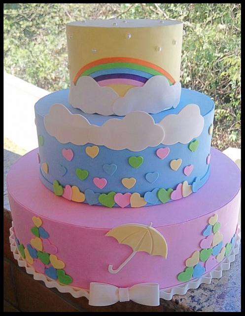 bolo fake chuva de amor em eva simples