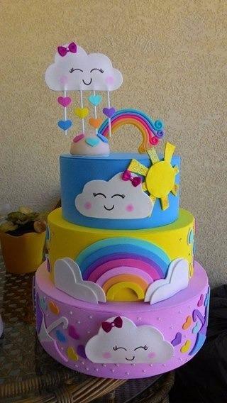 bolo fake chuva de amor três andares