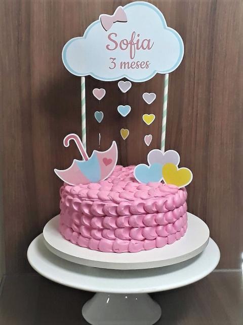 bolo fake chuva de amor rosa