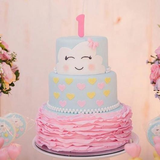 bolo fake chuva de amor rosa e azul