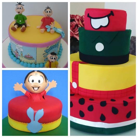Os bolos fake Turma da Mônica geralmente são coloridos