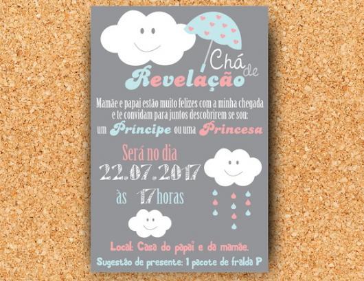 Convite chá revelação com tema nuvem