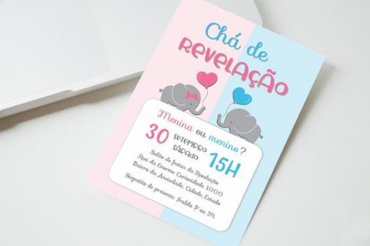 Convite chá revelação com tema elefantinho