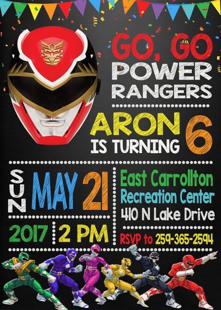 Um convite colorido com o Ranger predileto do aniversariante em destaque