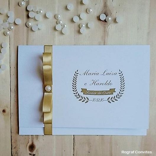 convite simples dourado
