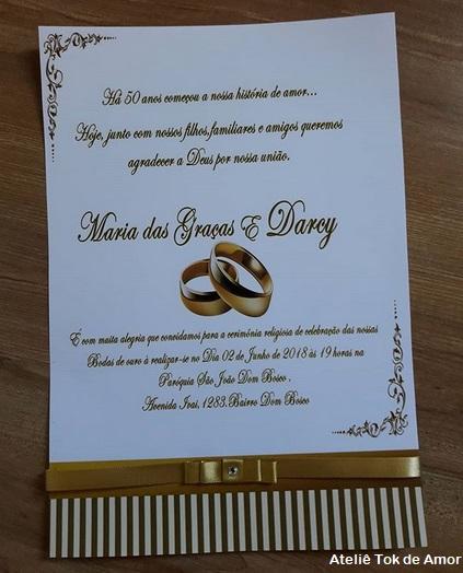 42 Convites Bodas De Ouro Elegantíssimos Dicas De Mensagens