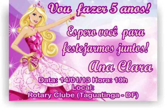 Convite da Barbie Princesa bem animado