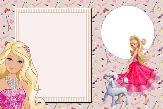 Modelo gratuito de convite da Barbie Paris