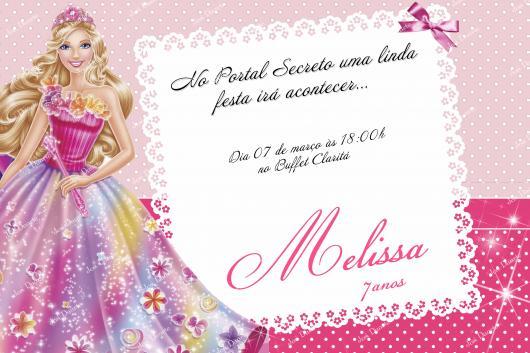 Convite delicado para festa da Barbie Princesa