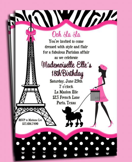 Ideia de convite delicado para festa Barbie Paris